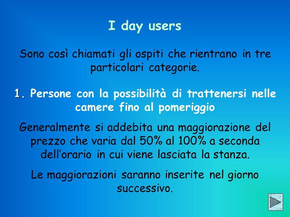 I day users Sono così chiamati gli ospiti che rientrano in tre particolari categorie. 1. 1. Persone con la possibilità di trattenersi nelle camere fin