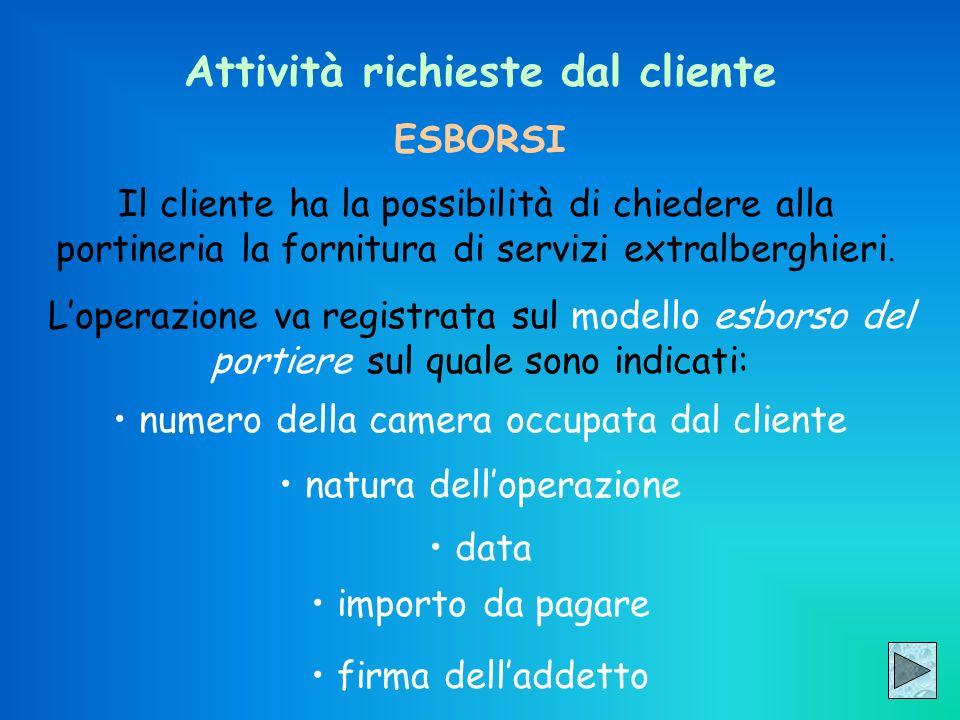 Attività richieste dal cliente ESBORSI Il cliente ha la possibilità di chiedere alla portineria la fornitura di servizi extralberghieri. Loperazione v