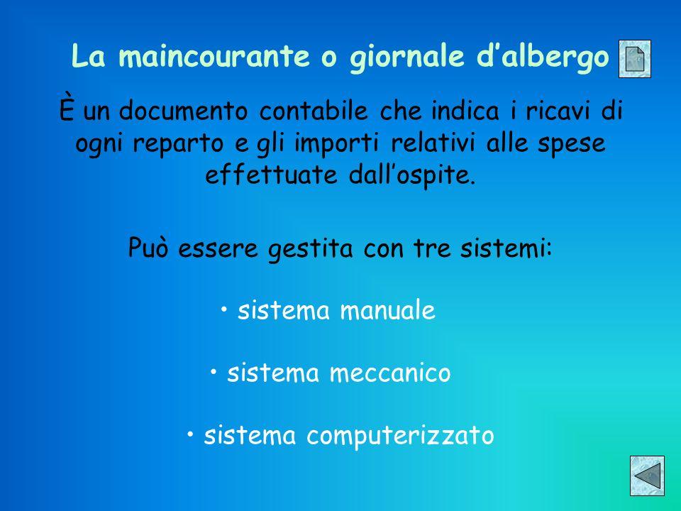 La maincourante o giornale dalbergo È un documento contabile che indica i ricavi di ogni reparto e gli importi relativi alle spese effettuate dallospi
