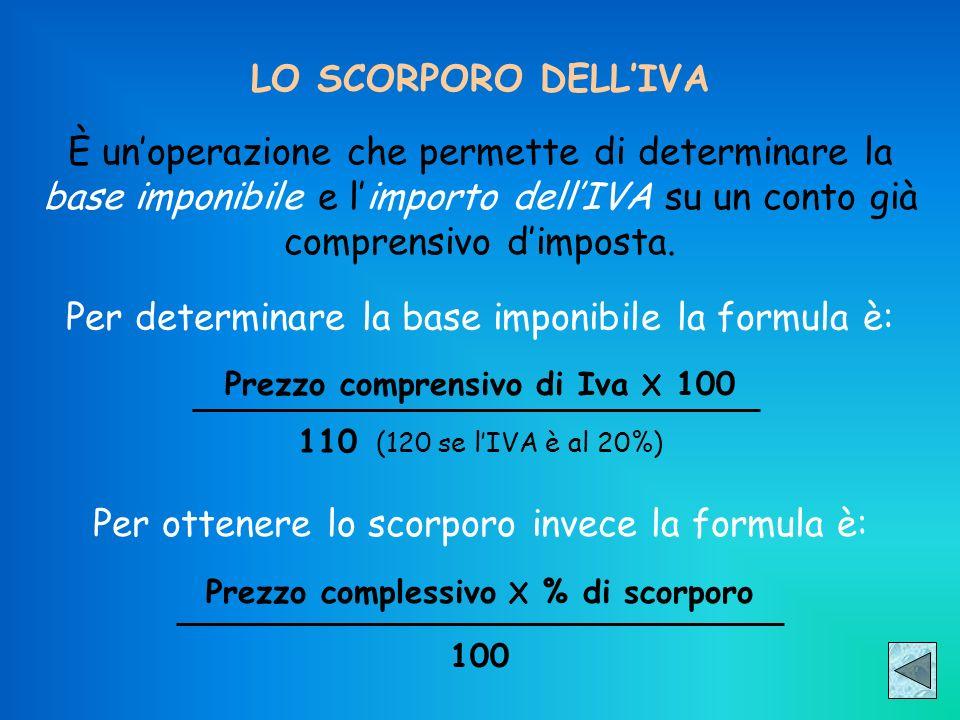 LO SCORPORO DELLIVA È unoperazione che permette di determinare la base imponibile e limporto dellIVA su un conto già comprensivo dimposta. Prezzo comp