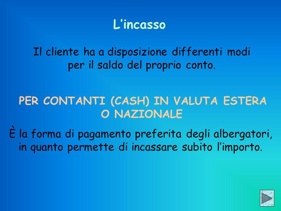 Lincasso Il cliente ha a disposizione differenti modi per il saldo del proprio conto. PER CONTANTI (CASH) IN VALUTA ESTERA O NAZIONALE È la forma di p