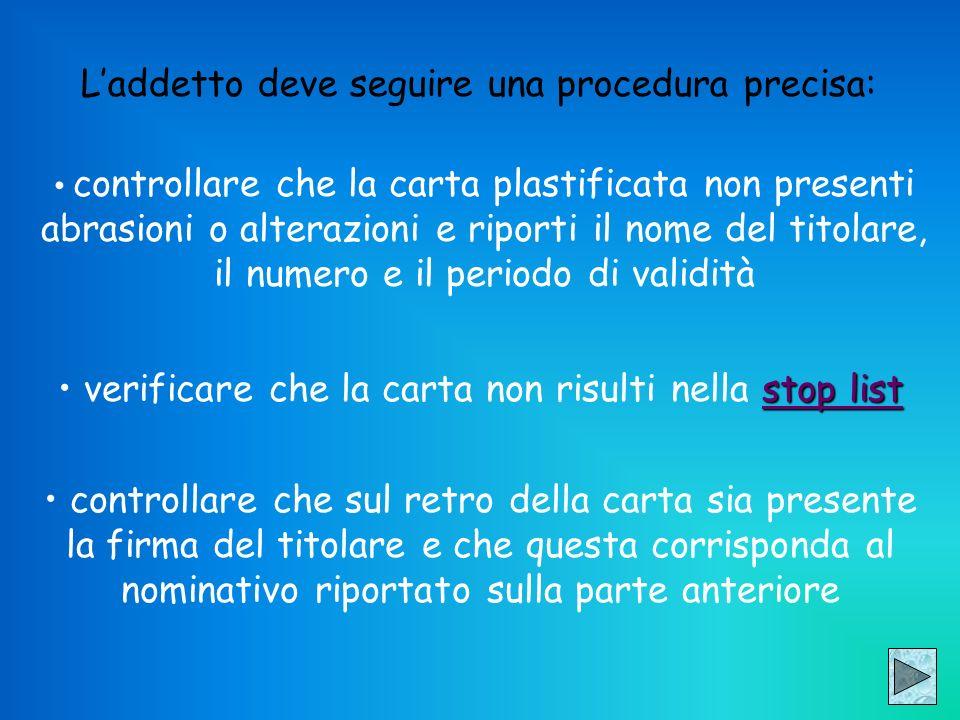 Laddetto deve seguire una procedura precisa: controllare che la carta plastificata non presenti abrasioni o alterazioni e riporti il nome del titolare