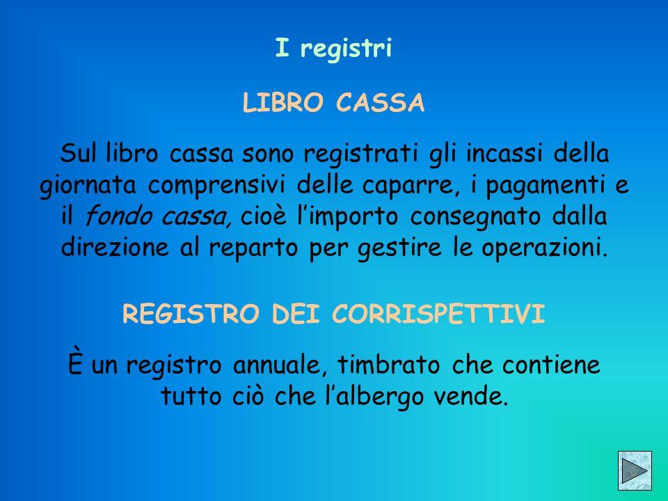 I registri LIBRO CASSA Sul libro cassa sono registrati gli incassi della giornata comprensivi delle caparre, i pagamenti e il fondo cassa, cioè limpor