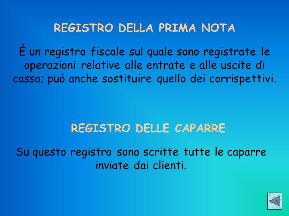 REGISTRO DELLA PRIMA NOTA È un registro fiscale sul quale sono registrate le operazioni relative alle entrate e alle uscite di cassa; può anche sostit