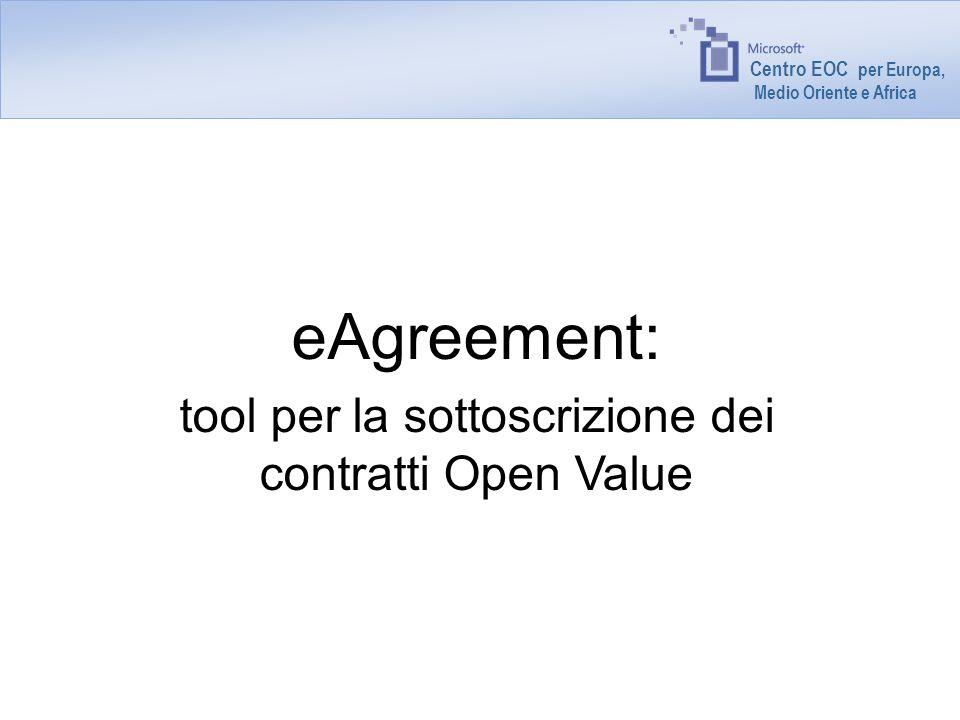 Centro EOC - per Europa, Medio Oriente e Africa Modifiche a eAgreements eAgreements verrà utilizzato per inoltrare i contratti Open Value in tutti i paesi EMEA.