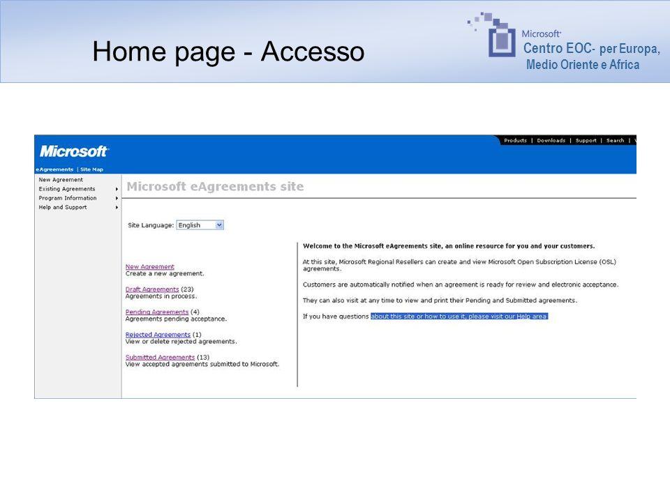 Centro EOC - per Europa, Medio Oriente e Africa Home page - Accesso