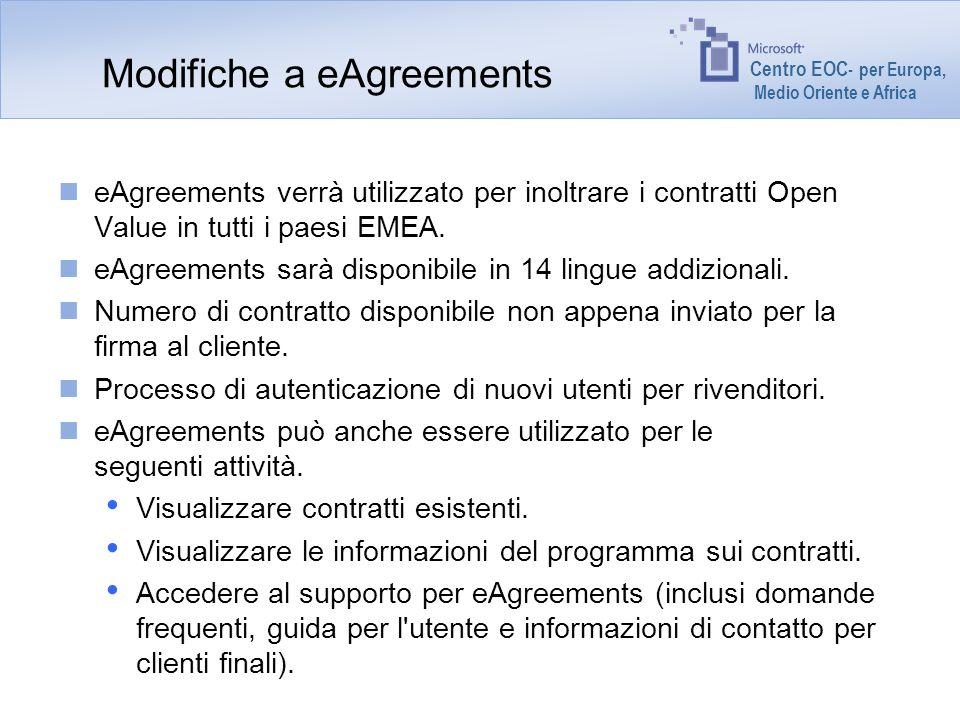 Centro EOC - per Europa, Medio Oriente e Africa Modifiche a eAgreements eAgreements verrà utilizzato per inoltrare i contratti Open Value in tutti i p