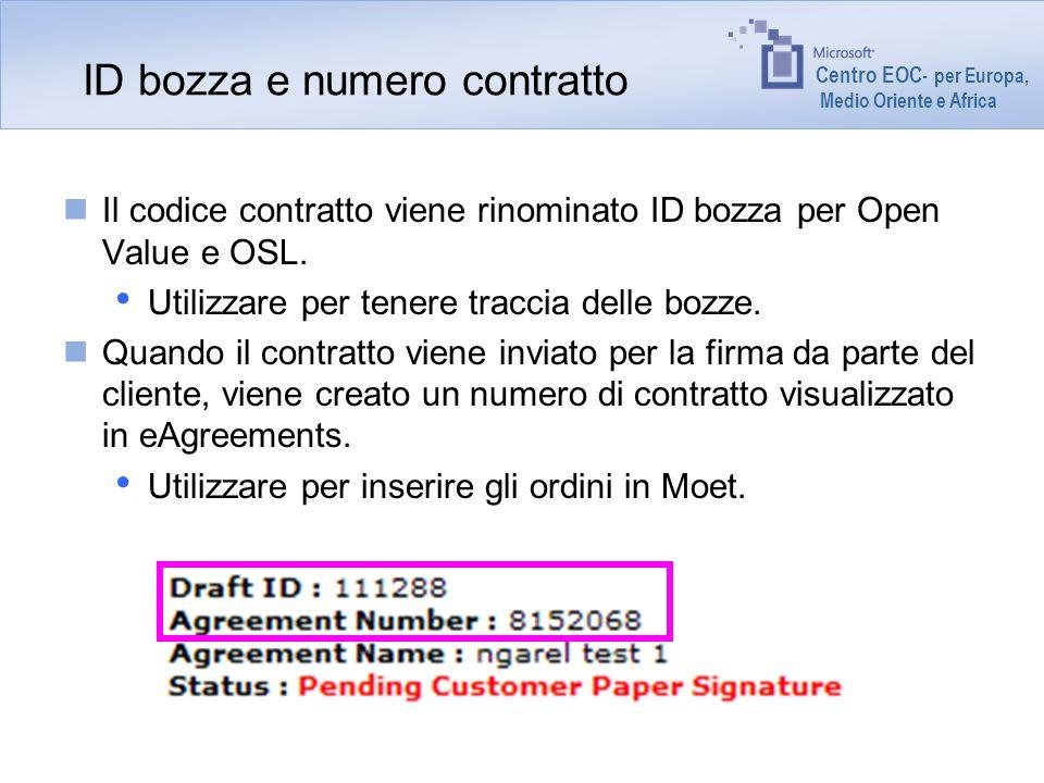 Centro EOC - per Europa, Medio Oriente e Africa ID bozza e numero contratto Il codice contratto viene rinominato ID bozza per Open Value e OSL. Utiliz