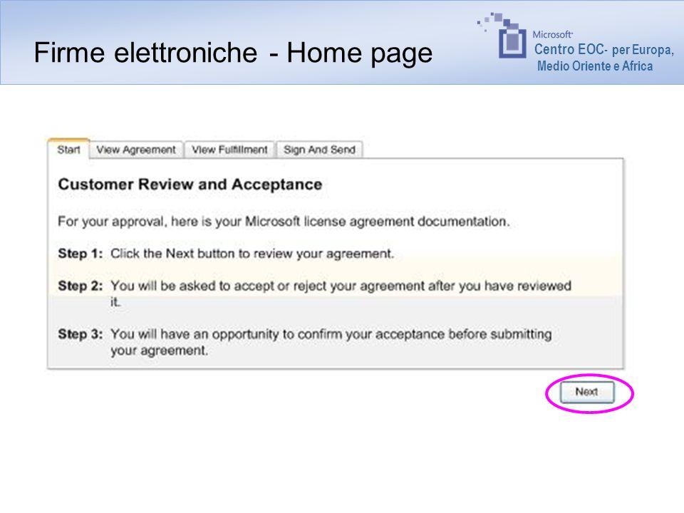 Centro EOC - per Europa, Medio Oriente e Africa Firme elettroniche - Home page
