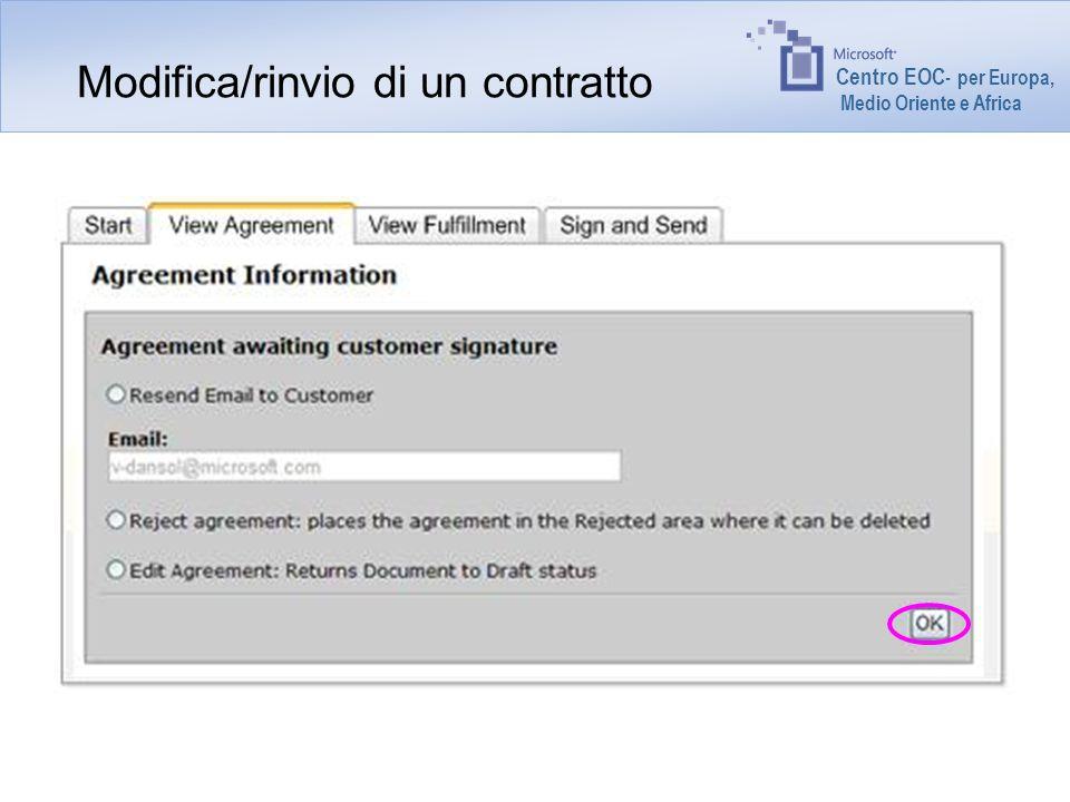 Centro EOC - per Europa, Medio Oriente e Africa Modifica/rinvio di un contratto