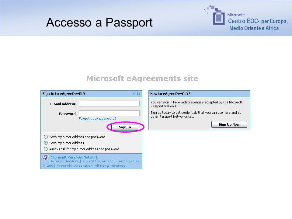 Centro EOC - per Europa, Medio Oriente e Africa Accesso a Passport
