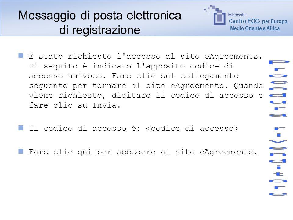Centro EOC - per Europa, Medio Oriente e Africa Messaggio di posta elettronica di registrazione È stato richiesto l'accesso al sito eAgreements. Di se