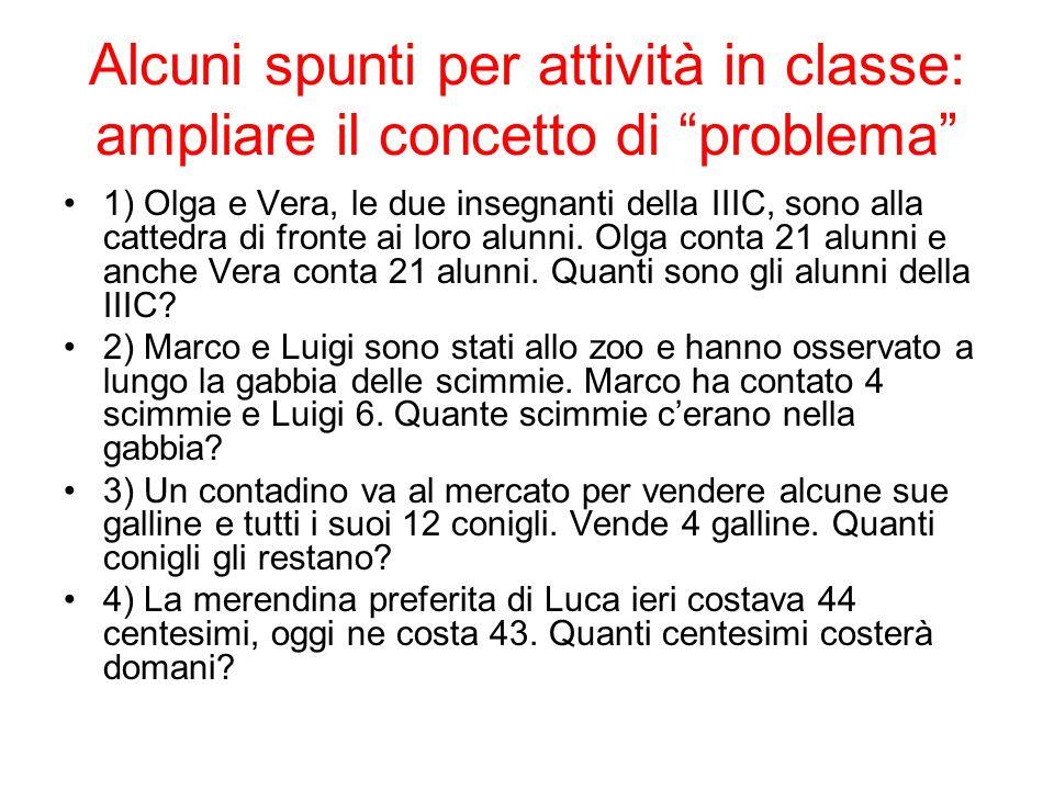 Alcuni spunti per attività in classe: ampliare il concetto di problema 1) Olga e Vera, le due insegnanti della IIIC, sono alla cattedra di fronte ai l