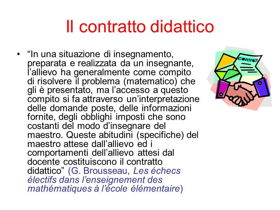 Il contratto didattico In una situazione di insegnamento, preparata e realizzata da un insegnante, lallievo ha generalmente come compito di risolvere