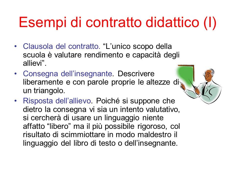 Esempi di contratto didattico (I) Clausola del contratto. Lunico scopo della scuola è valutare rendimento e capacità degli allievi. Consegna dellinseg