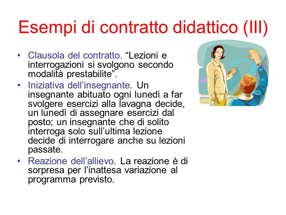 Esempi di contratto didattico (III) Clausola del contratto. Lezioni e interrogazioni si svolgono secondo modalità prestabilite. Iniziativa dellinsegna