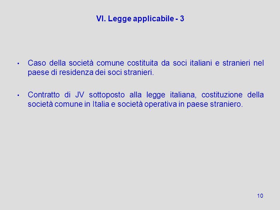 10 VI. Legge applicabile - 3 Caso della società comune costituita da soci italiani e stranieri nel paese di residenza dei soci stranieri. Contratto di