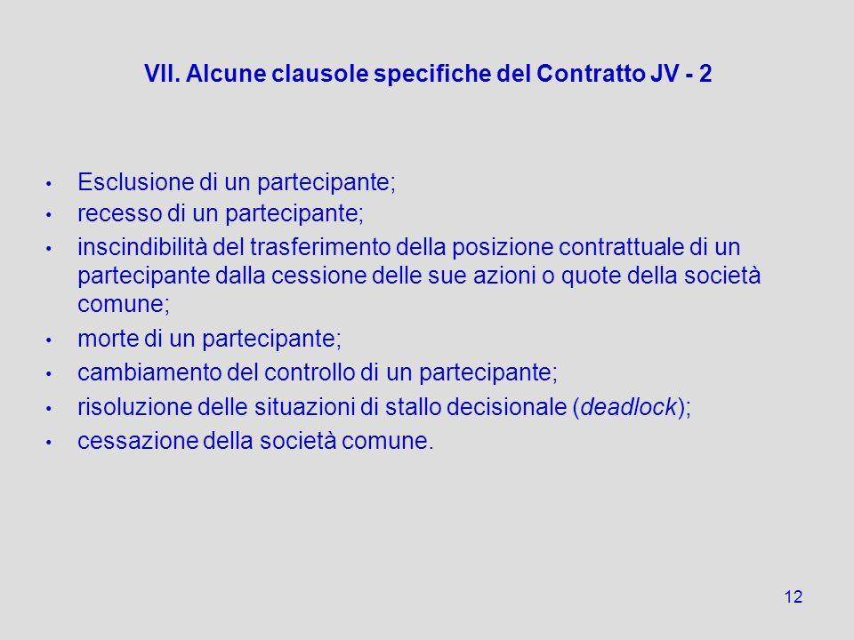 12 VII. Alcune clausole specifiche del Contratto JV - 2 Esclusione di un partecipante; recesso di un partecipante; inscindibilità del trasferimento de