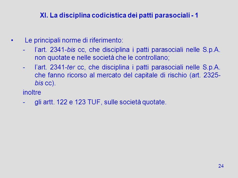24 XI. La disciplina codicistica dei patti parasociali - 1 Le principali norme di riferimento: - -lart. 2341-bis cc, che disciplina i patti parasocial
