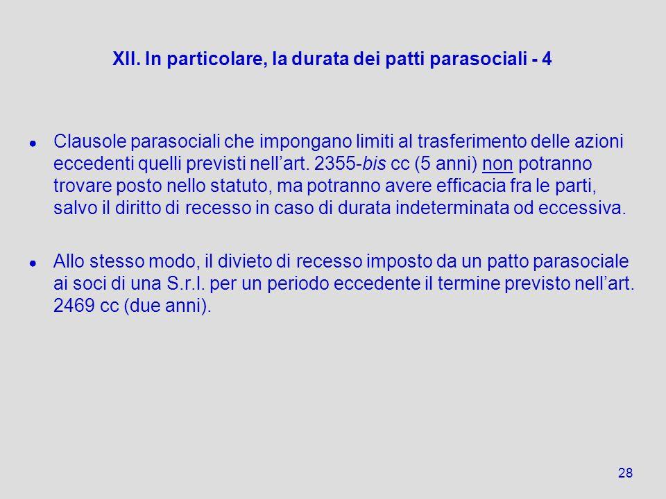 XII. In particolare, la durata dei patti parasociali - 4 Clausole parasociali che impongano limiti al trasferimento delle azioni eccedenti quelli prev