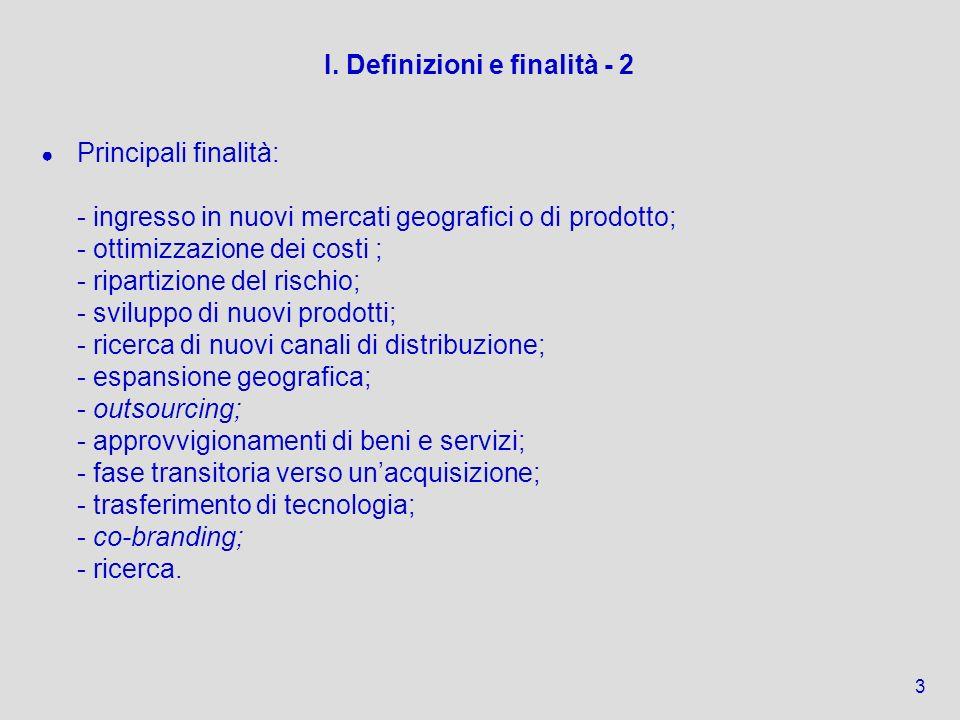 I. Definizioni e finalità - 2 Principali finalità: - ingresso in nuovi mercati geografici o di prodotto; - ottimizzazione dei costi ; - ripartizione d