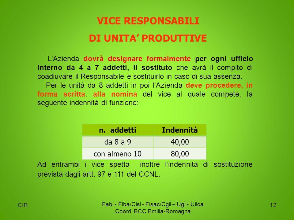 CIR Fabi - Fiba/Cisl - Fisac/Cgil – Ugl - Uilca Coord. BCC Emilia-Romagna 12 LAzienda dovrà designare formalmente per ogni ufficio interno da 4 a 7 ad