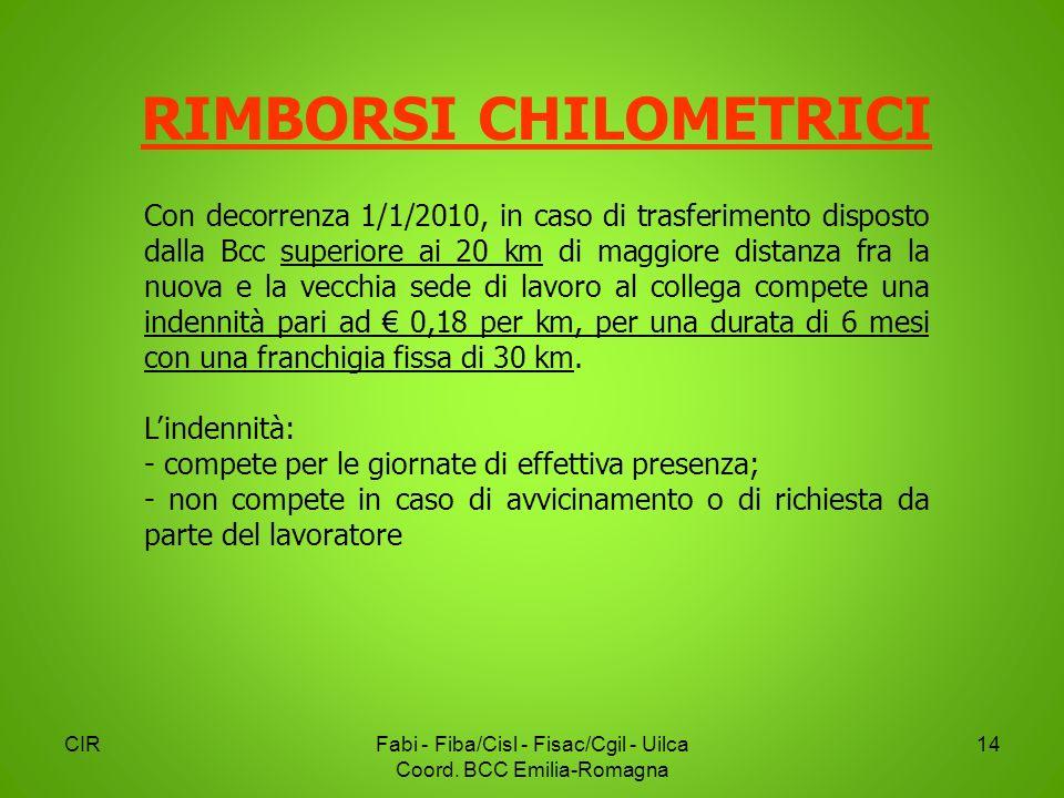 CIRFabi - Fiba/Cisl - Fisac/Cgil - Uilca Coord. BCC Emilia-Romagna 14 RIMBORSI CHILOMETRICI Con decorrenza 1/1/2010, in caso di trasferimento disposto