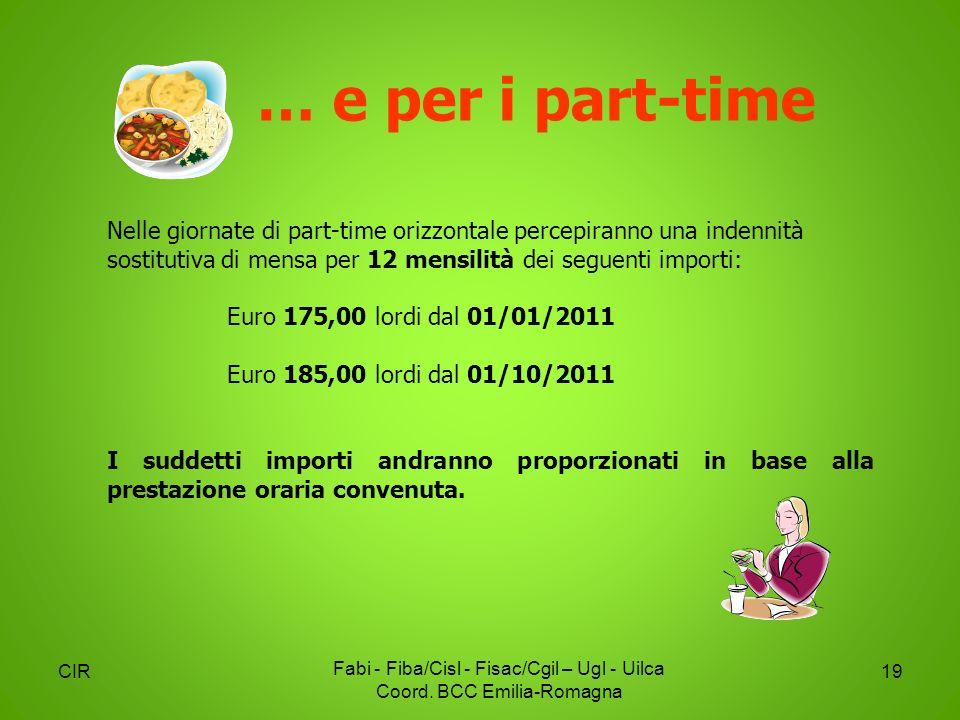 CIR Fabi - Fiba/Cisl - Fisac/Cgil – Ugl - Uilca Coord. BCC Emilia-Romagna 19 Nelle giornate di part-time orizzontale percepiranno una indennità sostit