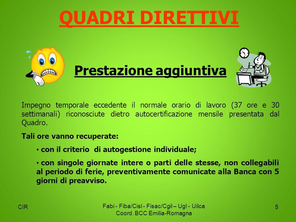 CIR Fabi - Fiba/Cisl - Fisac/Cgil – Ugl - Uilca Coord. BCC Emilia-Romagna 5 Prestazione aggiuntiva Impegno temporale eccedente il normale orario di la
