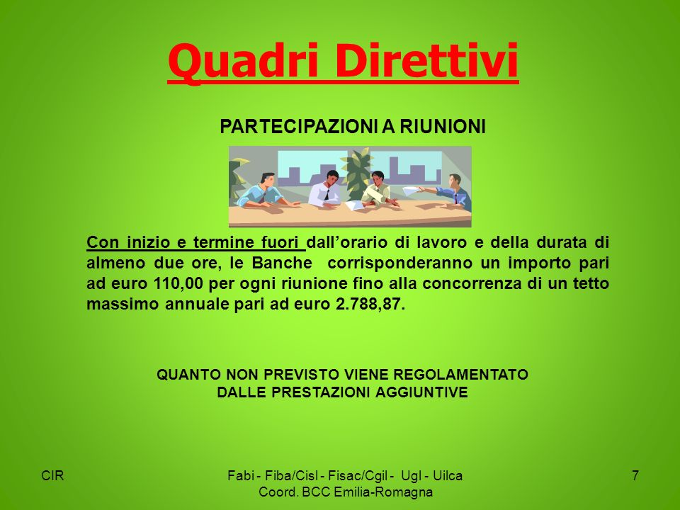 Quadri Direttivi CIRFabi - Fiba/Cisl - Fisac/Cgil - Ugl - Uilca Coord. BCC Emilia-Romagna 7 Con inizio e termine fuori dallorario di lavoro e della du