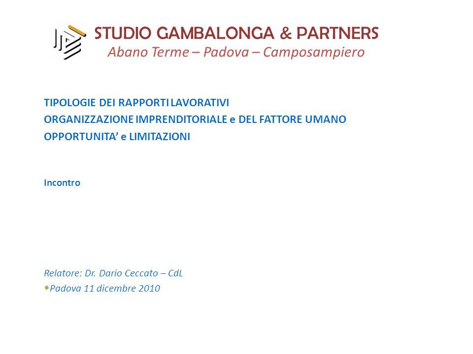 STUDIO GAMBALONGA & PARTNERS Abano Terme – Padova – Camposampiero TIPOLOGIE DEI RAPPORTI LAVORATIVI ORGANIZZAZIONE IMPRENDITORIALE e DEL FATTORE UMANO