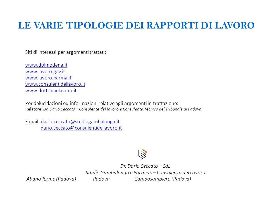 LE VARIE TIPOLOGIE DEI RAPPORTI DI LAVORO Siti di interessi per argomenti trattati: www.dplmodena.it www.lavoro.gov.it www.lavoro.parma.it www.consule