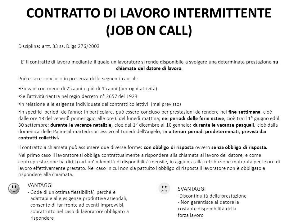 CONTRATTO DI LAVORO INTERMITTENTE (JOB ON CALL) Disciplina: artt. 33 ss. D.lgs 276/2003 E il contratto di lavoro mediante il quale un lavoratore si re