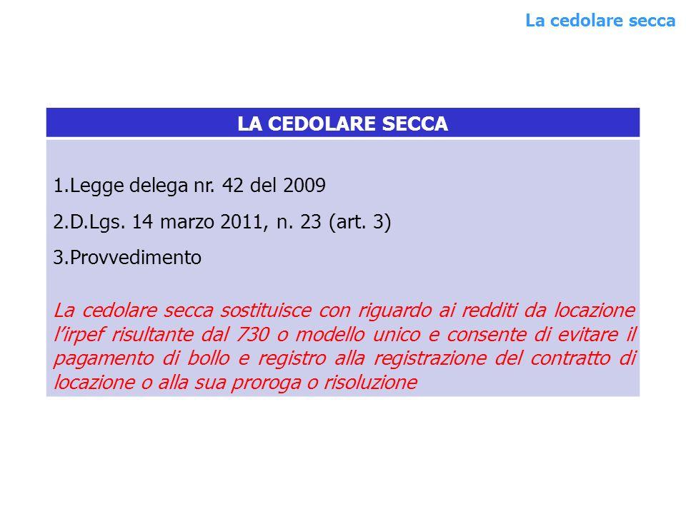 LA CEDOLARE SECCA 1.Legge delega nr. 42 del 2009 2.D.Lgs.