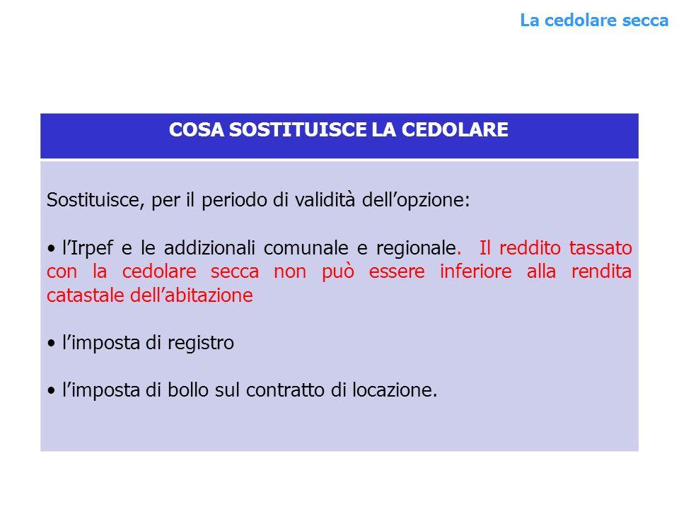 COSA SOSTITUISCE LA CEDOLARE Sostituisce, per il periodo di validità dellopzione: lIrpef e le addizionali comunale e regionale.