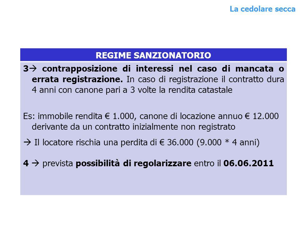 REGIME SANZIONATORIO 3 contrapposizione di interessi nel caso di mancata o errata registrazione.