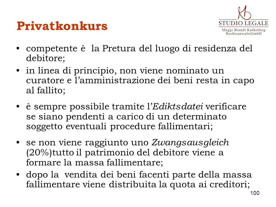 Privatkonkurs competente è la Pretura del luogo di residenza del debitore; in linea di principio, non viene nominato un curatore e lamministrazione de