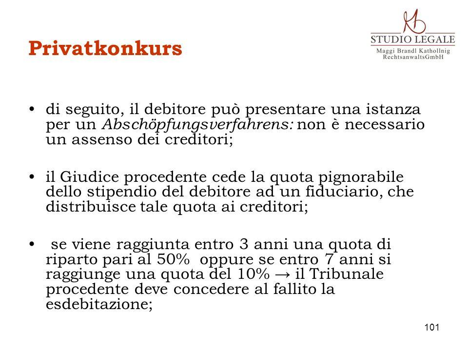 Privatkonkurs di seguito, il debitore può presentare una istanza per un Abschöpfungsverfahrens: non è necessario un assenso dei creditori; il Giudice