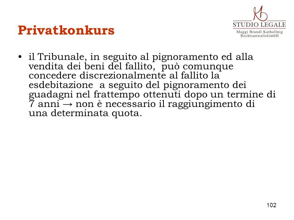 Privatkonkurs il Tribunale, in seguito al pignoramento ed alla vendita dei beni del fallito, può comunque concedere discrezionalmente al fallito la es