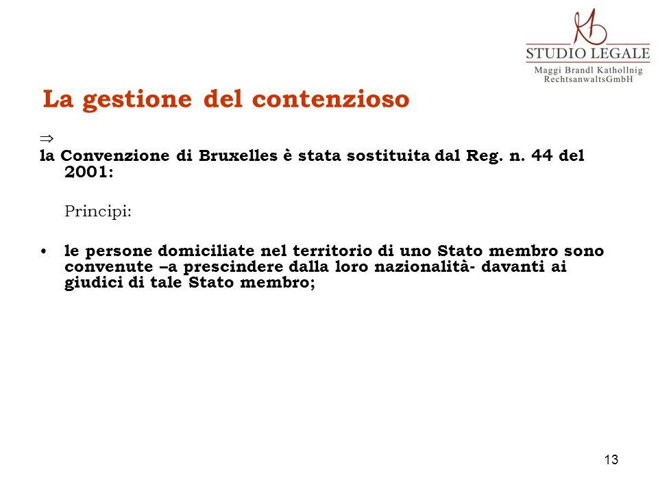 La gestione del contenzioso la Convenzione di Bruxelles è stata sostituita dal Reg. n. 44 del 2001: Principi: le persone domiciliate nel territorio di