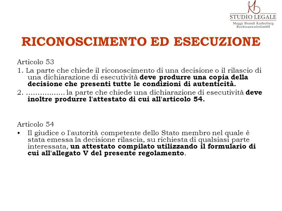 RICONOSCIMENTO ED ESECUZIONE Articolo 53 1. La parte che chiede il riconoscimento di una decisione o il rilascio di una dichiarazione di esecutività d