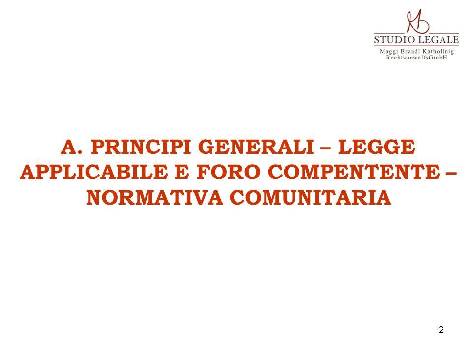 A. PRINCIPI GENERALI – LEGGE APPLICABILE E FORO COMPENTENTE – NORMATIVA COMUNITARIA 2