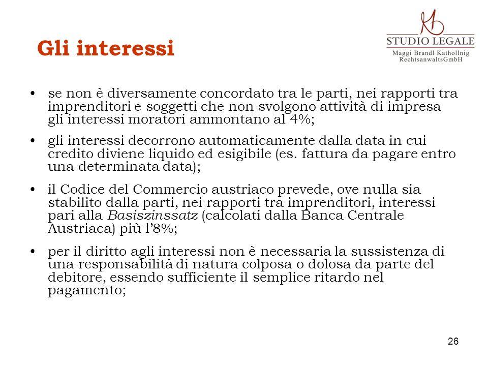 Gli interessi se non è diversamente concordato tra le parti, nei rapporti tra imprenditori e soggetti che non svolgono attività di impresa gli interes