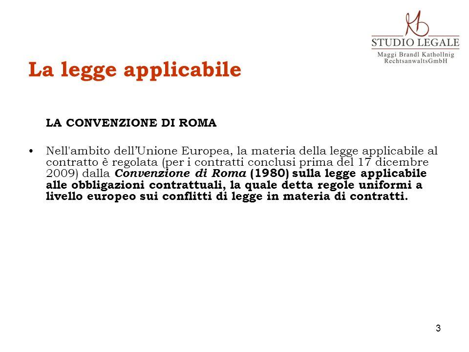 La legge applicabile LA CONVENZIONE DI ROMA Nell'ambito dellUnione Europea, la materia della legge applicabile al contratto è regolata (per i contratt