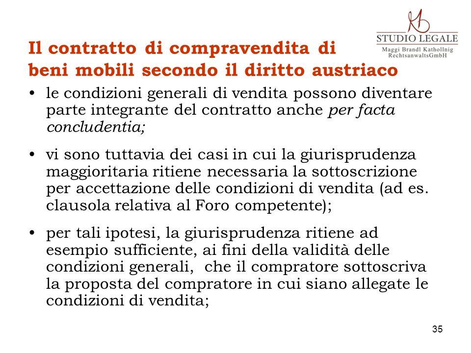 Il contratto di compravendita di beni mobili secondo il diritto austriaco le condizioni generali di vendita possono diventare parte integrante del con