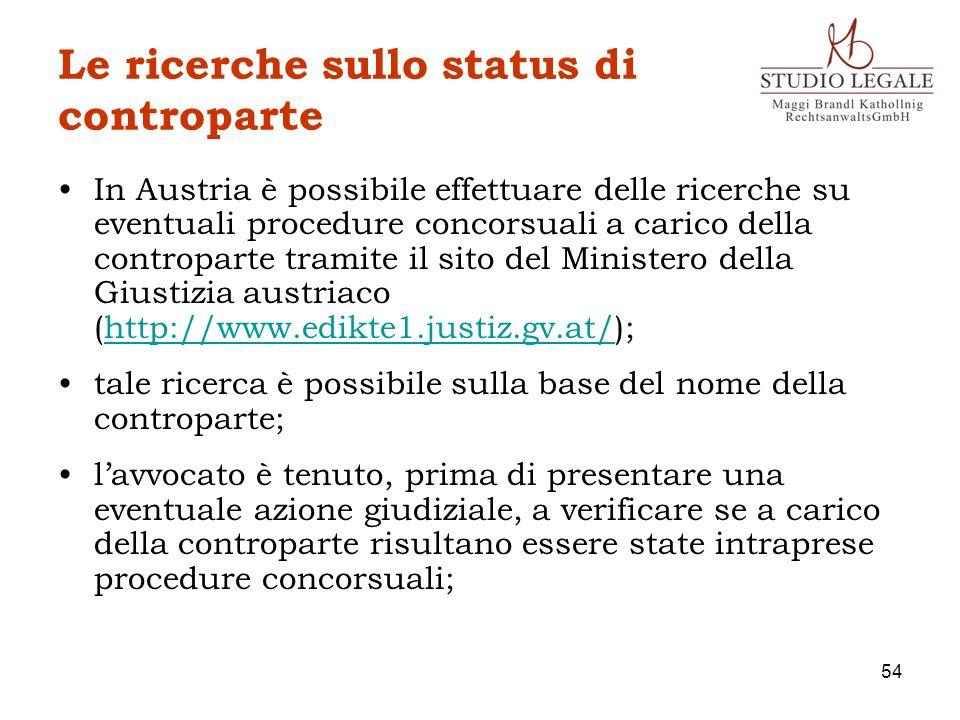 Le ricerche sullo status di controparte In Austria è possibile effettuare delle ricerche su eventuali procedure concorsuali a carico della controparte