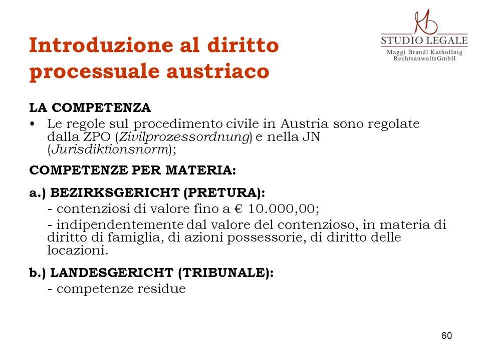 Introduzione al diritto processuale austriaco LA COMPETENZA Le regole sul procedimento civile in Austria sono regolate dalla ZPO ( Zivilprozessordnung