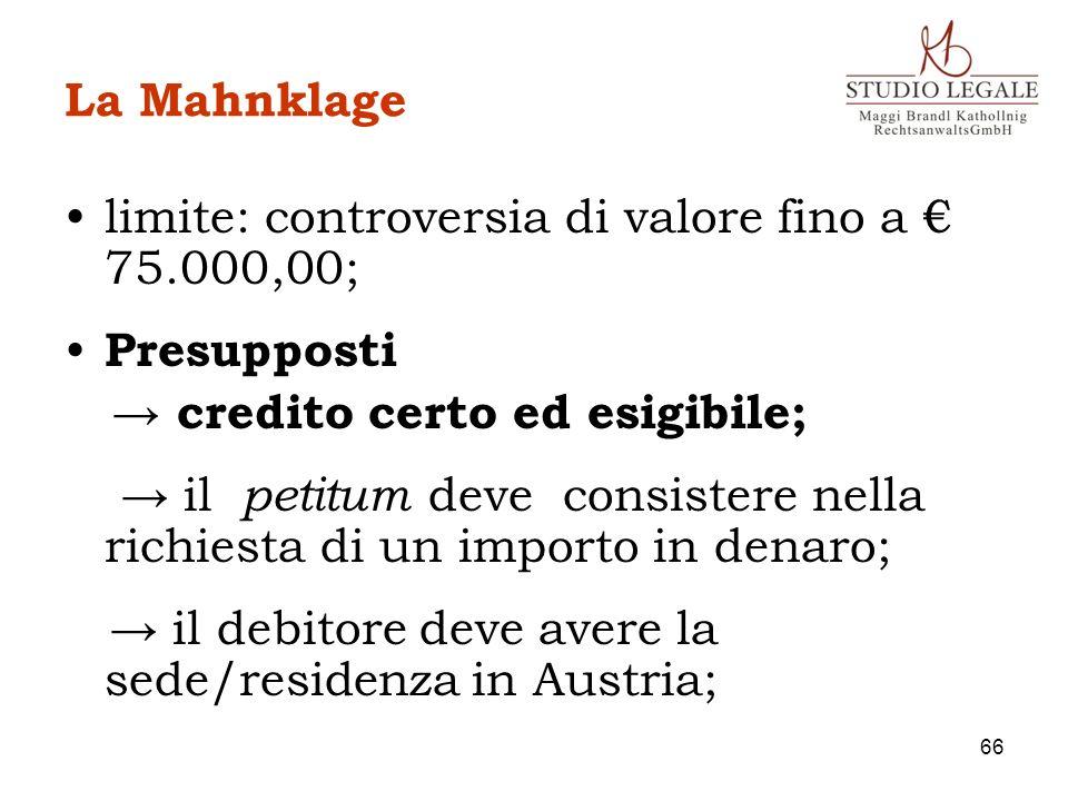 La Mahnklage limite: controversia di valore fino a 75.000,00; Presupposti credito certo ed esigibile; il petitum deve consistere nella richiesta di un