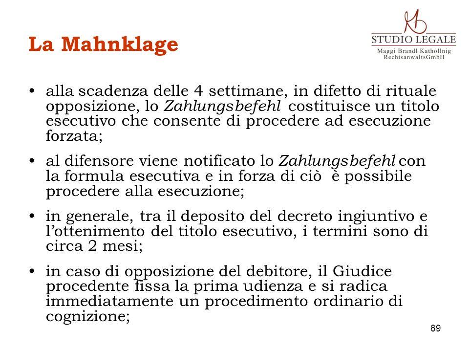 La Mahnklage alla scadenza delle 4 settimane, in difetto di rituale opposizione, lo Zahlungsbefehl costituisce un titolo esecutivo che consente di pro
