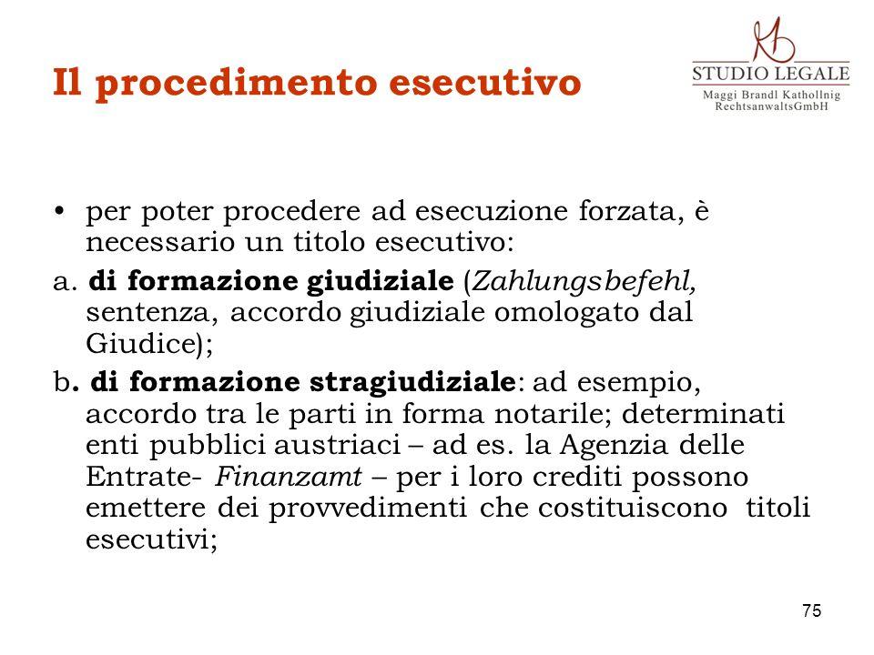 Il procedimento esecutivo per poter procedere ad esecuzione forzata, è necessario un titolo esecutivo: a. di formazione giudiziale ( Zahlungsbefehl, s
